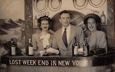 "New York City~""Lost Weekend""~Ladies at Bar~Man~Whiskey~Bottoms Up~1940s RPPC"