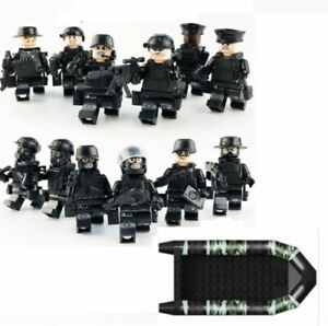 Lego SWAT Custom Minifigures with BOAT - Lot of 12 with weapons and boat