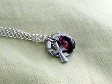 Granat Rot Tropfen Anhänger Kette Halskette Edelstahl Glaube Liebe Hoffnung No.1