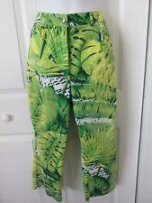 ESCADA Jungle Leaf Animal Print Design Cropped Capri Stretch Cotton Pants 40 EUC