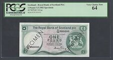 Scotland One Pound 3-5-1982 P341as Specimen  Uncirculated