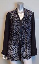 LANE BRYANT NEW Black/Gray Leopard Velvet Print Zipper Hi-Low Blouse sz 26/28W