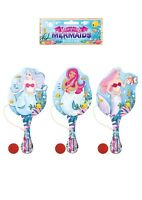 WOODEN MERMAID PADDLE BAT AND BALL CHILDREN'S PARTY BAG FILLERS TOYS GIRLS PARTY