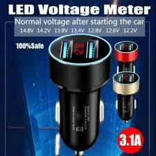 Fast Dual USB Car Charger LED Voltmeter Display Universal Mobile Phone Socket