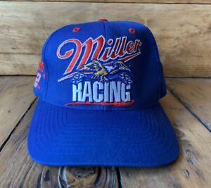 Vintage Miller Racing Rusty Wallace 2 SnapBack Cap Hat Checkered Flag Nascar