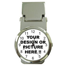 PERSONALIZED Custom Your LOGO Design PHOTO Text MONEY Clip Watch FREE Shipping