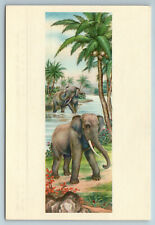 1950s ELEPHANTS IN THE RIVER Chinese ART China for USSR postcard