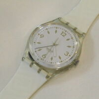 """Vintage SWATCH Watch """"R.S.V.P."""" GK129 1991 White Gold NEW Old Stock"""
