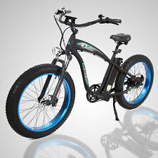 New 1000W Hammer Electric Fat Tire Bike Beach Snow City Road Bicycle Ebike Blue