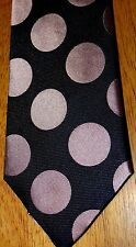 PAUL SMITH -LONDON FAB BOLD BLACK/PINK SPOTTED WOVEN 100% SILK TIE (8CM)