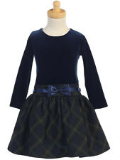 New Girls Velvet Green Plaid Dress Christmas Holidays Wedding Birthday Party 963