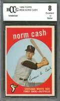 1959 topps #509 NORM CASH chicago white sox rookie card BGS BCCG 8