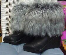 SOREL designer black leather/faux fur mid-calf wedge heel boots, sz. 7 1/2 US