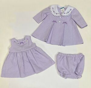 NWT Jessica Ann 3 Piece Purple Dress And Coat Set Size 3-6 Months