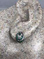 Vintage Genuine Green Jade White Bronze Silver Stud Earrings