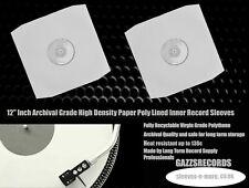 """20 12"""" Inch LP Album Vinyl White Paper Polylined Inner Record Sleeves 90gr bev"""