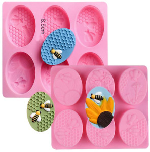 2Pcs Bee Silicone Soap Molds Honeycomb Cake Baking Mold for Chocolate Jelly