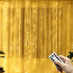 LED Light Curtain USB Remote Control Festoon Home Ornament Christmas Decoration