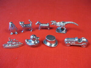 MONOPOLY GAME TOKENS SET OF 8 PEWTER DINOSAUR RUBBER DUCK