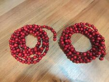 Vtg Style Wooden Bead Christmas Tree Garland Lot of 2 18 feet total. Two Tone.