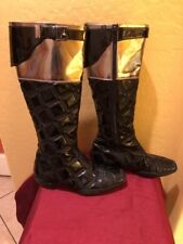 Authentic Ladies Gianni Versace Quilted Metallic Patent Boots.. Gorgeous.Sz (37)