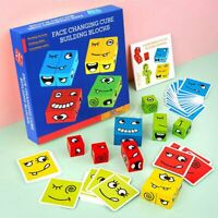 72pcs Wooden Building Blocks Kids Toy Geometric Cube Face Changing Puzzle Games