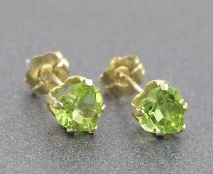 Natural Peridot Ladies Stud Earrings 14ct Yellow Gold Pierced Ears Fine Jewelry