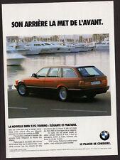 1992 BMW 525i Touring Original Print AD - Red car station wagon photo, boat yach
