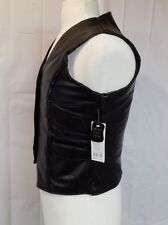 MEN'S LEATHER VEST BLACK SIZE SMALL SNAP FRONT MOTORCYCLE