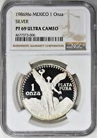 Mexico 1986 Mo Silver NGC PF69 1 Onza Proof Libertad Mexican Bullion Coin Toned