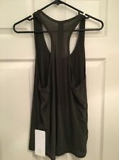 Lululemon Two With One Singlet NWT SZ 12 Dark Olive Green Racerback Tie Back