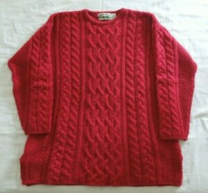 Aran Craft Merino Wool Cashmere Irish Fisherman Chunky Sweater Size M Red Euc