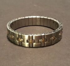 BRACELET 18K CROSS STAINLESS STEEL MILOR ITALY STRETCH UNISEX