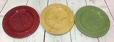 3 At Home America Homestead Salad Dessert Plates Red Yellow Green Snowflake Star