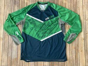 Oakley Long Sleeve Mens Cycling Jersey - Green/blue XXL