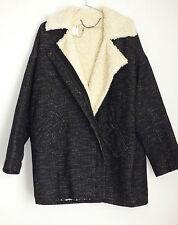 Manteau noir chiné blanc One Step oversize - Taille 44