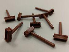 Bulk Lot Lego Part No.3836: Reddish Brown Minifigure,Utensil Push Broom, Qty x 8