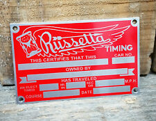 RUSSETTA VTG STYLE TIMING TAG HOT RAT ROD GASSER 1932 FORD SCTA BONNEVILLE AUTO