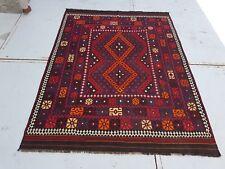 8'5x6'3 Handmade Afghan Tribal Wool Kilim Carpet Flat Weave Kelim Area Rug #6614
