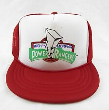 Vintage 1990's Mighty Morphin Power Rangers Red Mesh Youth Trucker Hat
