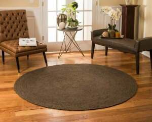 Rug 100% Natural Jute Braided Style Round Reversible Modern Living Area Rag Rug