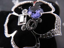 SIGNED SWAROVSKI PAVE' & TANZANITE CRYSTAL FLOWER  PIN ~ BROOCH NEW RETIRED