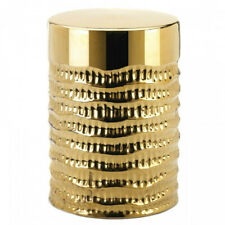 Gold Textured Ceramic Stool or Side Table Home Decor Stylish New