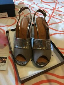 Chie Mihara Taupe Suede And Leather Sandals Eu 41 Bnib