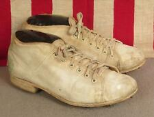 Vintage 1940s English Cricket Boots Shoes White Canvas Cleats/Spikes England