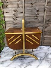 More details for large vintage cantilever wooden sewing knitting craft box storage side table