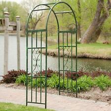 Garden Arch Iron Arched Arbor Trellis Plant Support Outdoor Gate Structure Green