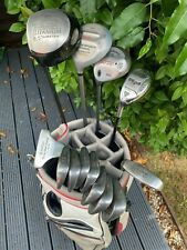 NICE SET OF LEFT HANDED WILSON GOLF CLUBS WITH PING & CALLAWAY WOODS