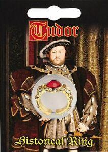 Tudor Gold Plated Gem Ring - Fancy Dress Henry V111 Decorative Vintage