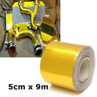 5cm x 9m Gold Exhaust Heat Shield Wrap Tape For Car Intake Intercooler Pipe